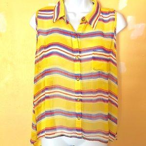 Toska yellow stripe sheer hi-lo sleeveless top